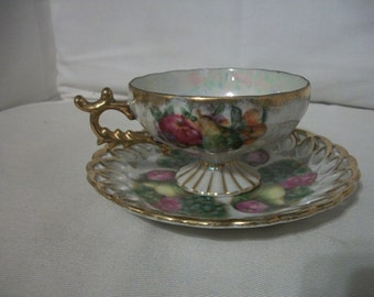 Vintage Hand Painted 1975 Fan Crest Tea Cup And Saucer Set