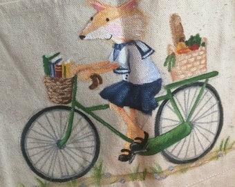 Fox on a Bike canvas tote