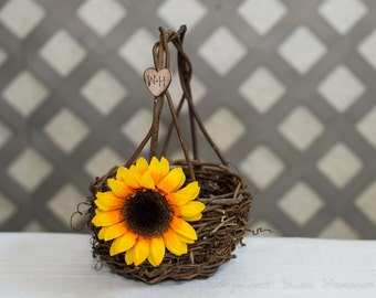 Sunflower Twig round personalized wedding basket. Customize with flower and initials