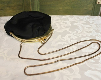 Vintage La Regale Black satin clam shell evening bag - clutch shoulder bag