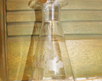 Antique Etched Cut Glass Cruet -  Oil Vinegar Bottle with Hawkes Glass Stopper