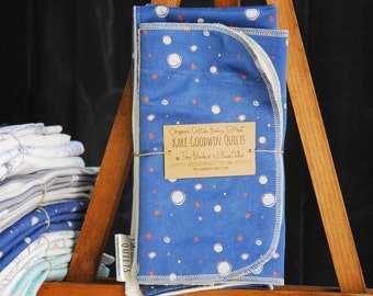 Organic Baby Gift Set, Includes Blanket & Two Burp Cloths - Navy Space Dot, Baby Gift