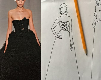 Design Your Own Custom Wedding Dress Custom Wedding Dress Sketch Custom Prom Ball Dress Handmade Clothing Custom Clothing Your Custom Design