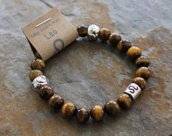 Tiger Eye Bracelet, Leo Bracelet, Zodiac Bracelet, Astrology Bracelet, Beaded Stretch Bracelet, Brown Stone Bracelet, Boho Bracelet