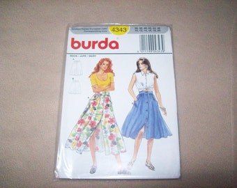Vintage Burda Button Down Front Skirt, burda sewing Pattern 4343