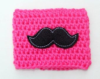 Crochet Mustache Coffee Cup Cozy Pink and Black Reusable Coffee Mug Sleeve