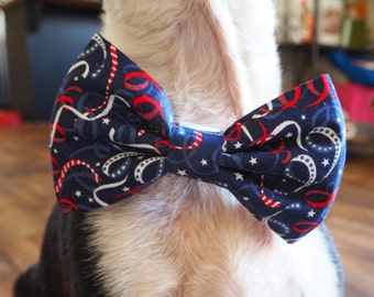 Dog Bow Tie:  4th of July CONFETTI RIBBONS Dog Bow Tie - Red, White, and Blue