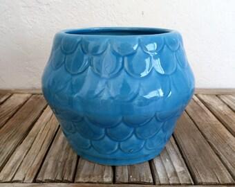 Mid Century Vivid Blue Caleramics Fish Scale Pot