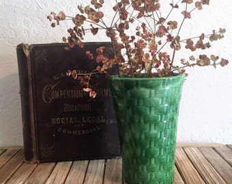 Mid Century Green Basket Vase