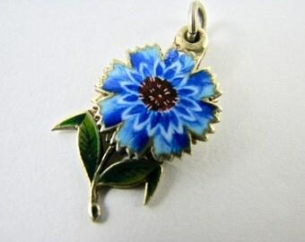 REDUCED Rare Antique French Silver Enamel Charm Flower depicting 'Amitie' Friendship Sentimental Love Token for Bracelet from Victorian Era