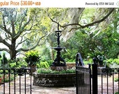ON SALE Garden Photography- Beaufort SC, Garden Gate Fountain Photo, Southern Garden Print, Oak Trees Spanish Moss, Green Black Garden Art
