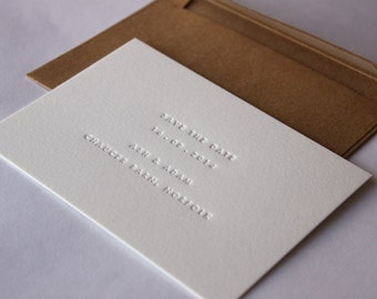 Inkless Letterpress Invitations +  Wedding Venue Insert with Map, Customised