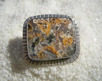 Ocean Jasper Ring in Sterling Silver, Size 8 1/4
