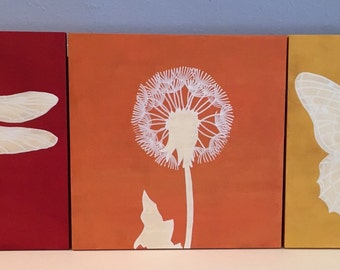 Butterfly, Dandelion and Dragonfly Trio Painting, Dandelion Wall Art