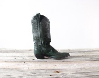 Hunter Green Leather Cowboy Boots.  Size 7.5