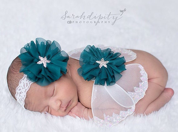 Butterfly wings, white and teal baby wings and/or matching headband for newborn photos, photo prop, newborn photographers