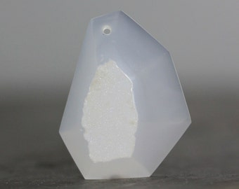 CLEARANCE - SALE - Drilled Pendant, Flatback, Free Form Facet Stone Druzy Agate, Brown Gemstone Bracelet Necklace Natural (CA2132)