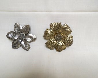 Vintage Flower Brooches Gold Tone Silver Tone