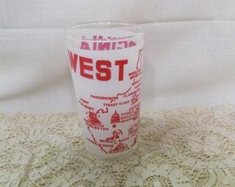 West Virginia Souvenir Tumbler Glass Vintage The Mountain State Kitchen Ware Kitchenware