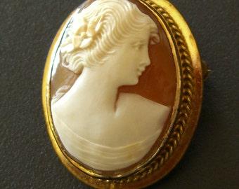 Antique Signed Cameo Brooch, Authentic Shell, 1930s Art Deco Jewelry