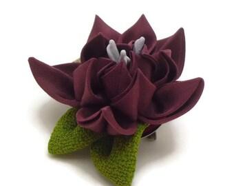 Maroon Flower Brooch Hair Clip/ Kanzashi Inspired Flower Corsage/ Flower Brooch/ Silk Flower/ Fabric Flower/ Fascinator/ Gift For Her TZ04BC