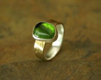 bimetal green recycled glass relic ring US size 7.5