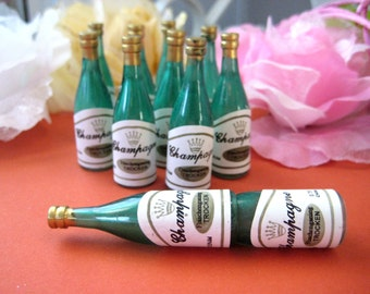 "Champagne Bottle, Mini Champagne Bottle for New Year's Eve Celebration, Wedding, Anniversary, Bachelor, Cupcake Toppers, 2.25""h 12 Bottles"