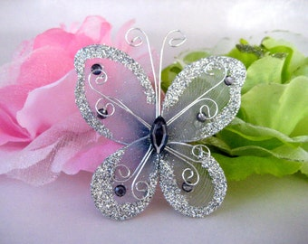 3 inches SILVER Nylon Butterflies for Wedding Decor, Flower Arrangement, Quinceanera, Christening Favors, Baptism Favors, 12 pcs