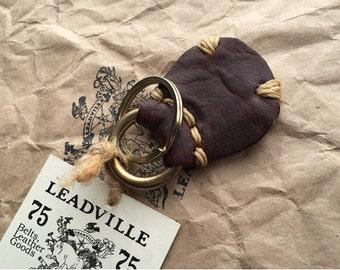 Handmade Dark Brown Leather Key Fob