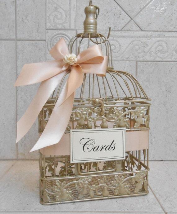 Gold Wedding Reception Gift Card Holder : Gold and Blush Wedding Card Box / Wedding Card Holder / Birdcage Card ...