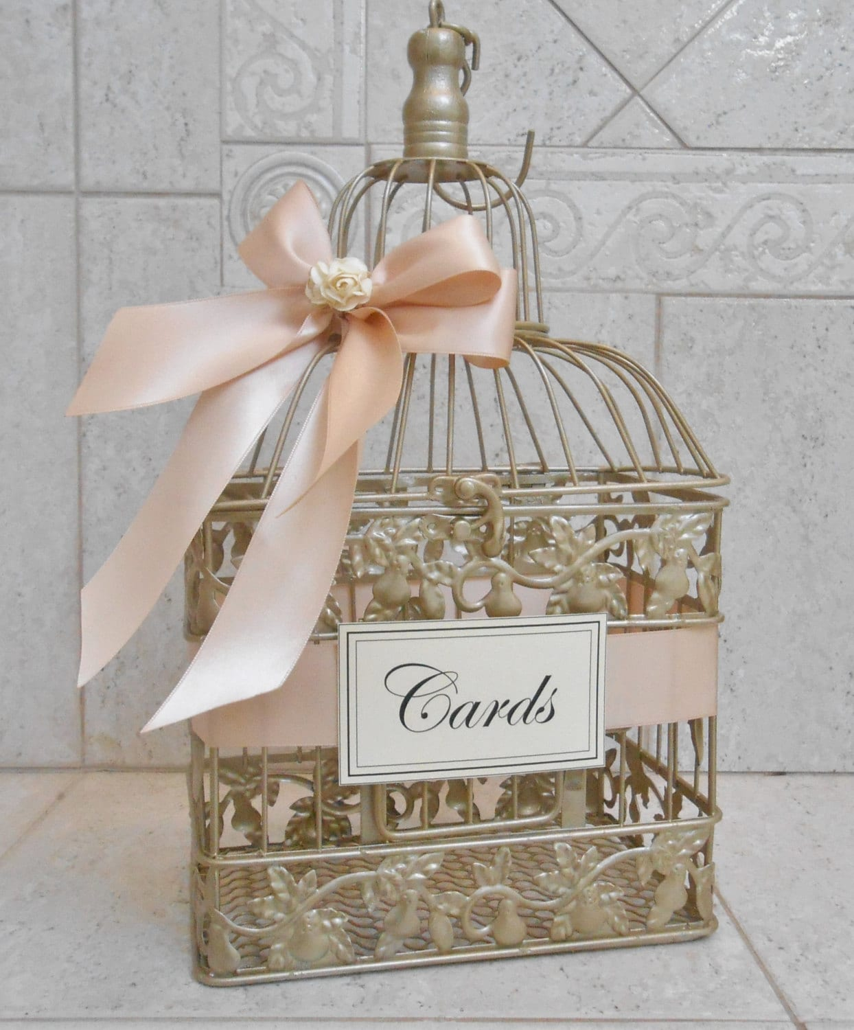 Blush And Gold Wedding Decor: Small Champagne Gold And Blush Wedding Card Box Wedding
