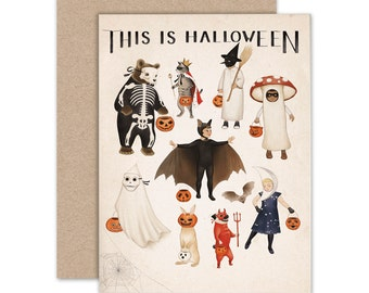 Halloween Greeting Card, Vintage Halloween Notecard, This Is Halloween, Animal Art