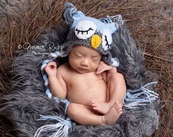 Baby Boy Hat -  Sleeping Baby Owl Hat - Earflaps and braids - Pink & Other Colors too