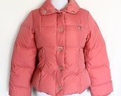PRICE DROP // Moschino Jeans Donna Coral Pink Goose Feathers Puffer Jacket Heart Buttons Size S