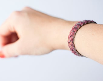 Braided Leather Bracelet / Rouge