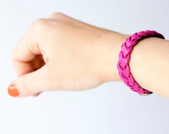 Braided Leather Bracelet / Reversible / Hot Pink & Navy