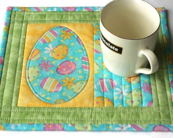 Easter Mug Rug, Quilted Mug Rug, Easter Eggs, Blue Green Mug Rug, Candle Mat, Easter Snack Mat, Quiltsy Handmade