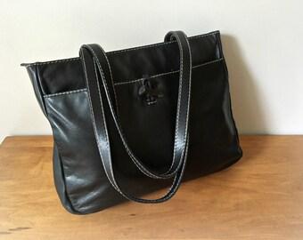 Ralph Lauren Black Leather Tote Bag Vintage Handbag