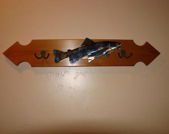 Metal Trout on Cedar Wood Rack