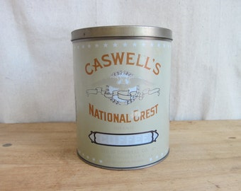 Vintage Metal Caswells National Crest 5lbs Coffee Tins, Vintage Industrial Home Decor Kitchen Canisters, Unique Original Housewarming Gifts