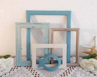 Beach Cottage Picture Frame Set Up Cycled Vintage Wood Photo Decoration Rustic Shabby Chic Coastal Seaside Tropical Island Home Decor Gift