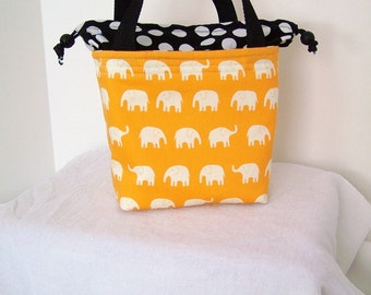 Elephant Insulated Lunch Sack, Drawstring Lunch bag, Lunch cooler, Cosmetic bag, Make up Kit, Small purse