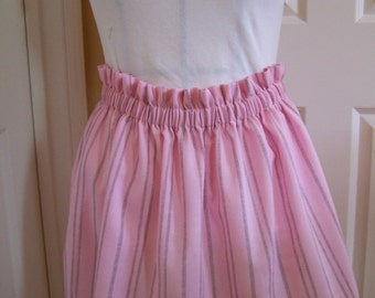 Sweet pink striped Half Apron, Elastic Waist Gathered Work Apron, Hostess Apron