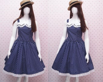 Adorable Navy Blue Polka Dot With Peter Pan Collar Vintage Inspired Dress - Knee Length Dress - Vintage Dress - Include Petticoat Skirt