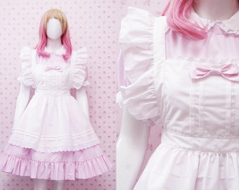 Kawaii Soft Pink Cotton Maid Dress And White Apron in Simple Victorian Style Dress - Kawaii Maid Costume - Custom in Your Size & Color