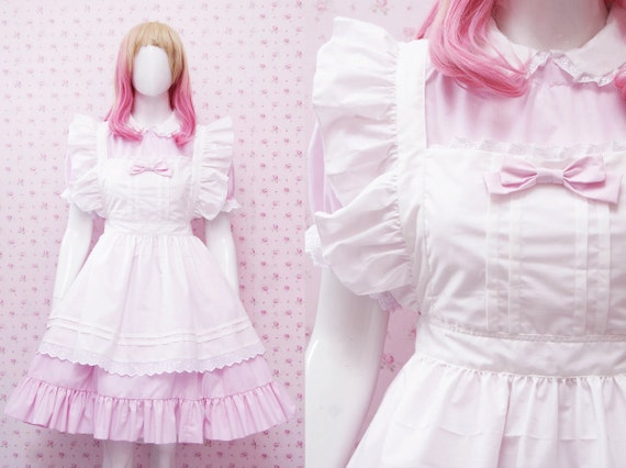 Kawaii Soft Pink Cotton Maid Dress And White Apron In Simple