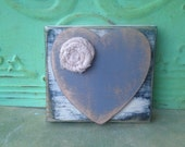 Shabby Chic Heart Hanger, Wooden Heart Block, Gallery Wall Heart Accent Hanger