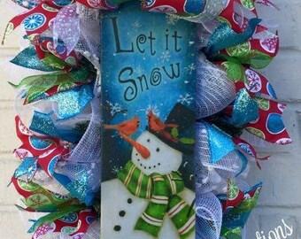 Let It Snow Snowman Whimisical Winter Christmas Swag Wreath, Winter Wreath, Whimsical Snowman Wreath, Snowman Wreath