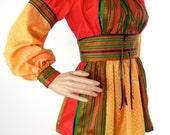 HUZZAR DESIGN Vintage Sari Peasant Top In Size Medium