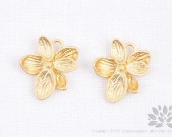 P755-MG// Matt Gold Plated Flower Pendent, 2 Pc
